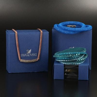 "Swarovski ""Vio"" Pave Stationary Necklace, Suede Wrap and ""Stardust"" Bracelets"