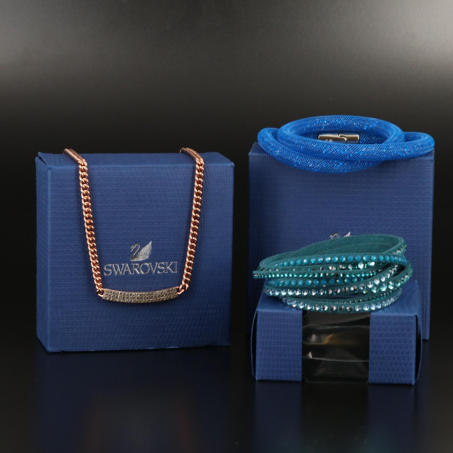 "Swarovski Assortment Featuring Suede Wrap and ""Stardust"" Bracelets"