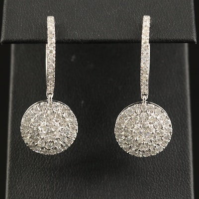 14K 3.02 CTW Diamond Huggie Drop Earrings