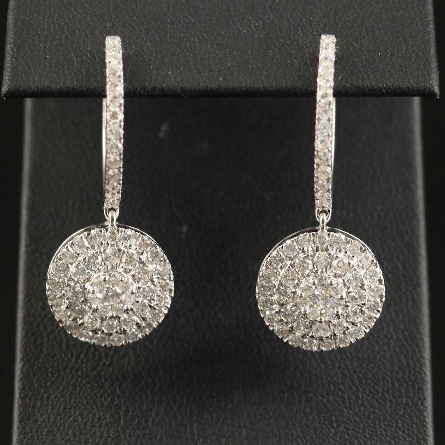 14K 3.02 CTW Diamond Huggie Drop Earrings