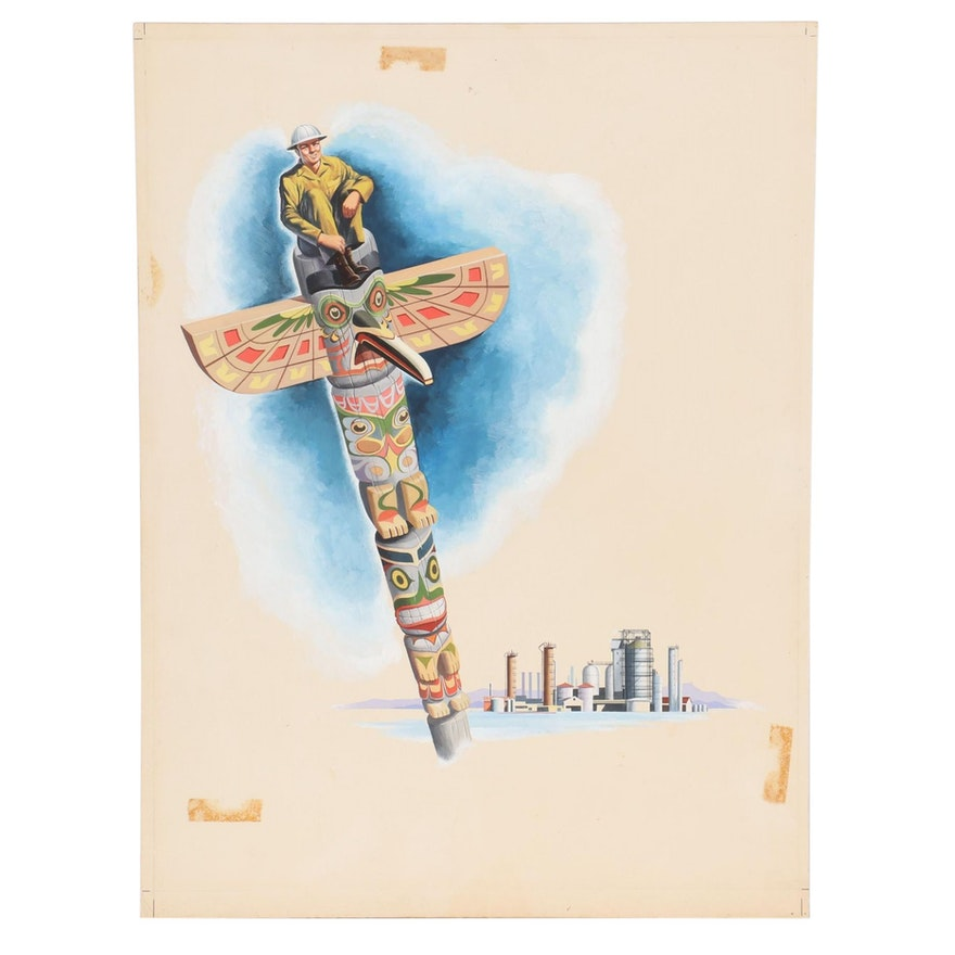 Gouache Illustration of Totem Pole and Industrial Plant, Mid-20th Century