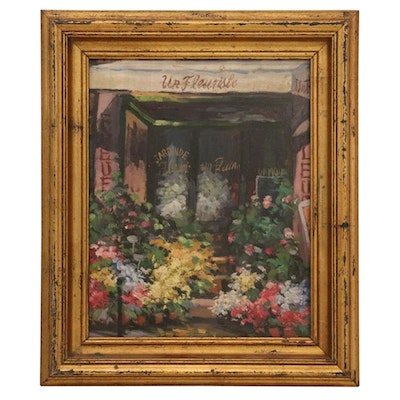 Oil Painting of French Florist Shop Front, Late 20th Century