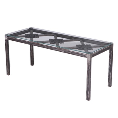 Contemporary Neoclassical Style Distressed Metal and Glass Top Coffee Table