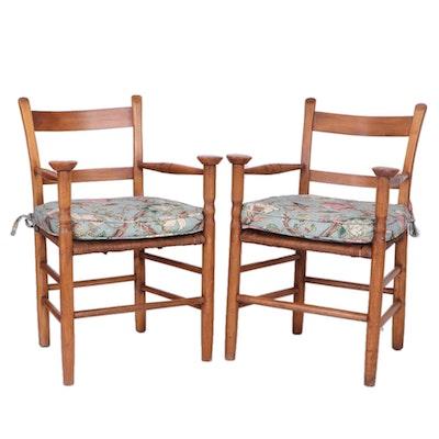Pair of American Primitive Mushroom Cap Splint-Woven Seat Armchairs