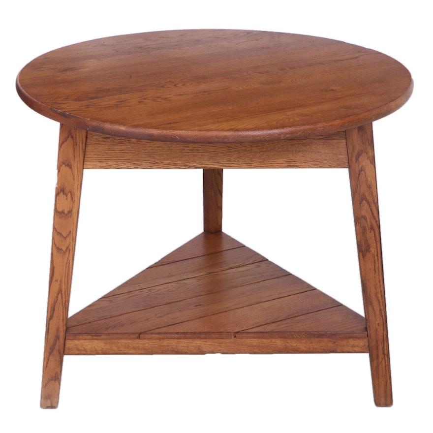 Round Oak Cricket Table, Late 20th Century