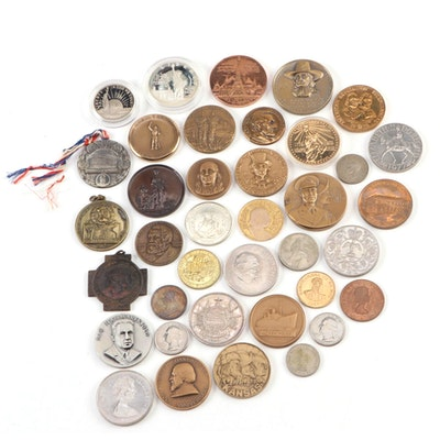 Collection of Commemorative Medals, Tokens, and Coins