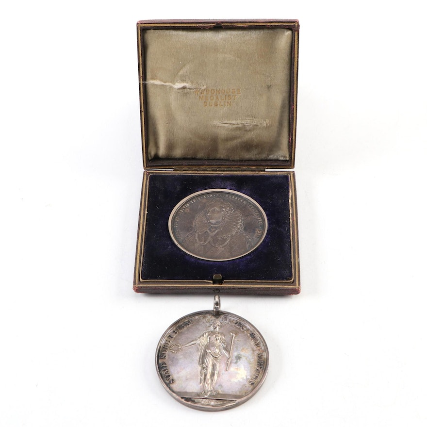 University of Dublin Silver Prize Medals, Dated 1891 and 1792