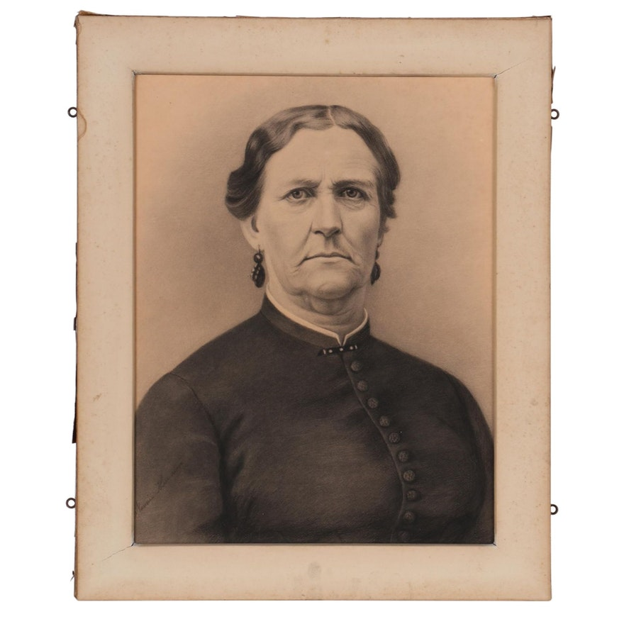 Crayon Portrait Photograph of Elderly Woman, Late 19th Century