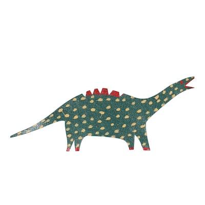 Hand-Painted Metal Cutout Folk Art Dinosaur