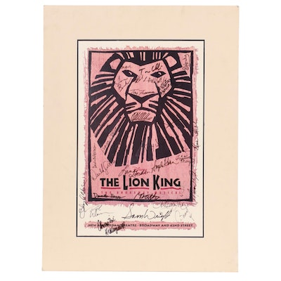 """Autographed Promotional Poster for Broadway Production of """"The Lion King"""""""