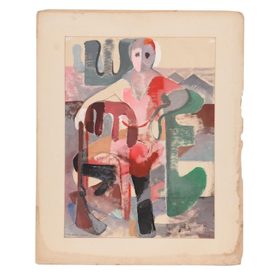 """Louise Pershing Abstract Gouache Painting """"The Young Hunter,"""" Mid-20th Century"""