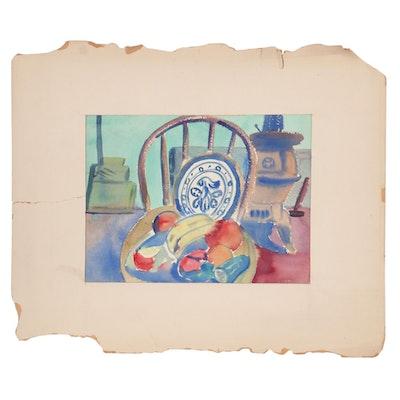 Folk Style Still Life Watercolor, 1952