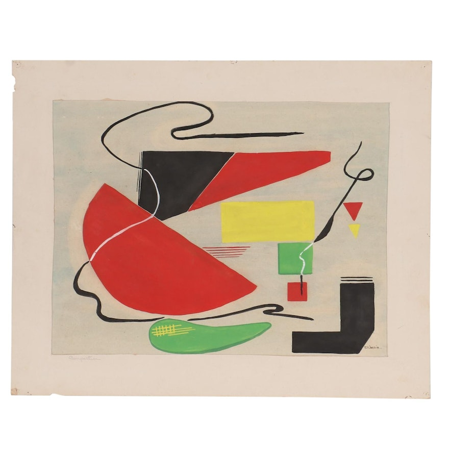 """Modernist Abstract Gouache Painting """"Composition,"""" Mid-20th Century"""