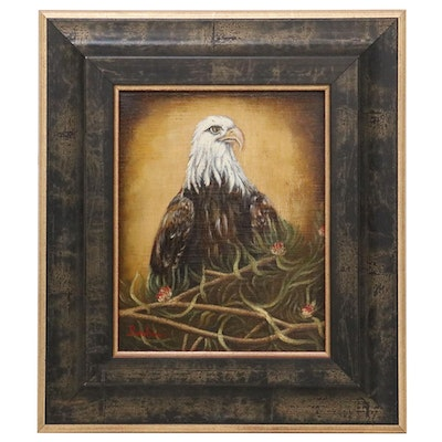 Oil Painting of Bald Eagle, 20th Century
