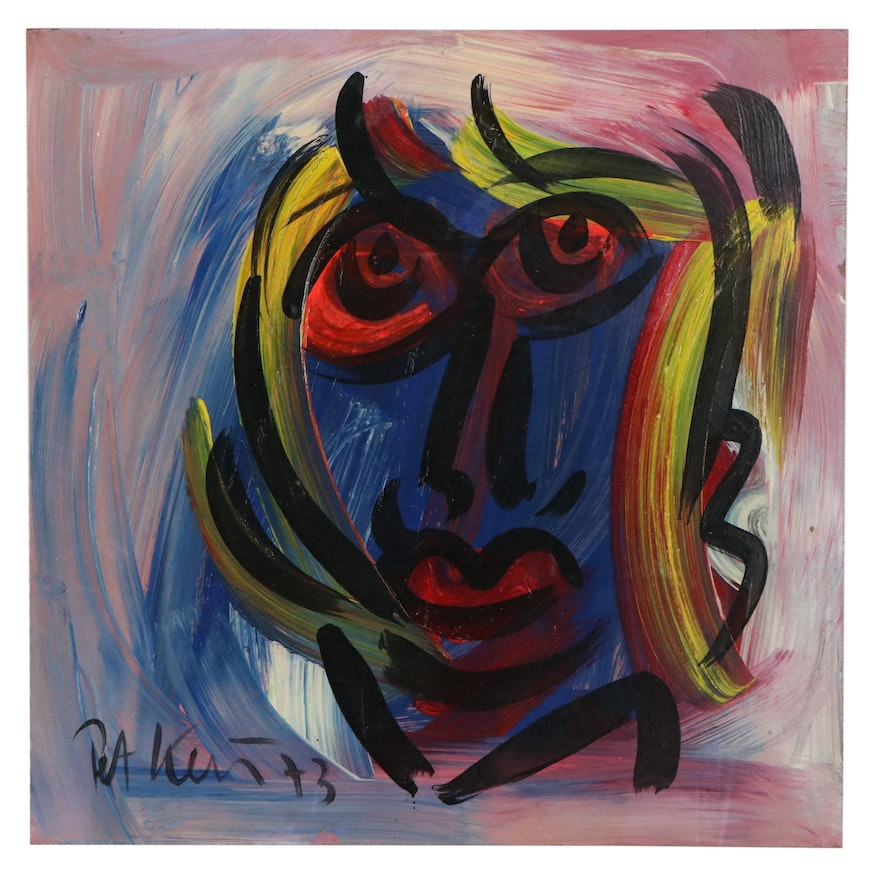 """Peter Keil Abstract Portrait Acrylic Painting """"Self"""", 1973"""