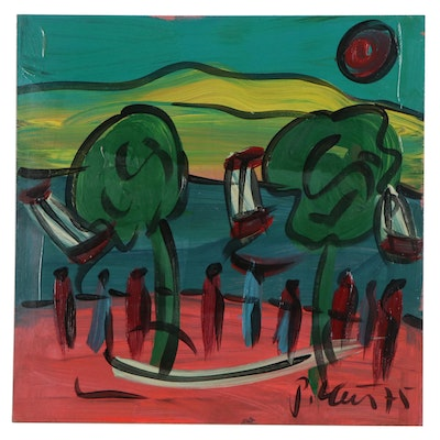 """Peter Keil Abstract Landscape Acrylic Painting """"Lake"""", 1975"""
