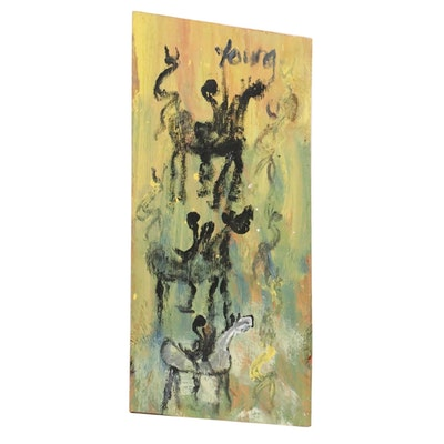 Purvis Young Outsider Art Acrylic Painting of Figures on Horses