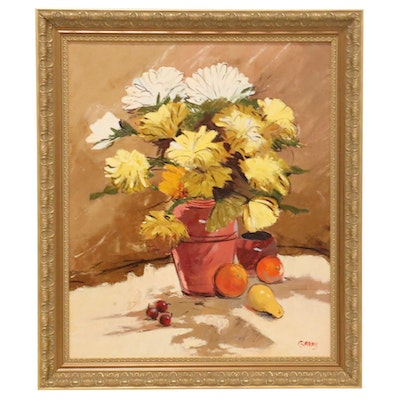 Floral Still Life with Fruit Oil Painting, 21st Century