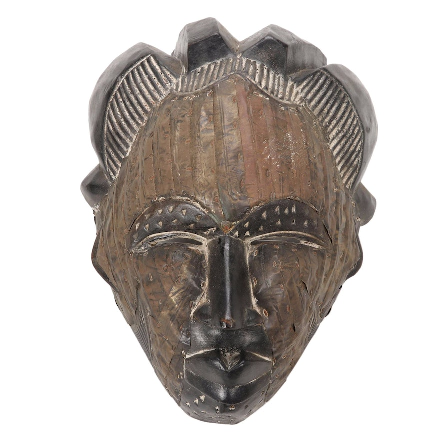 Tikar Style Hand-Carved Wood Mask, Cameroon