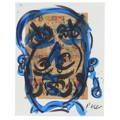 Peter Keil Abstract Portrait Mixed Media Painting, Late 20th Century