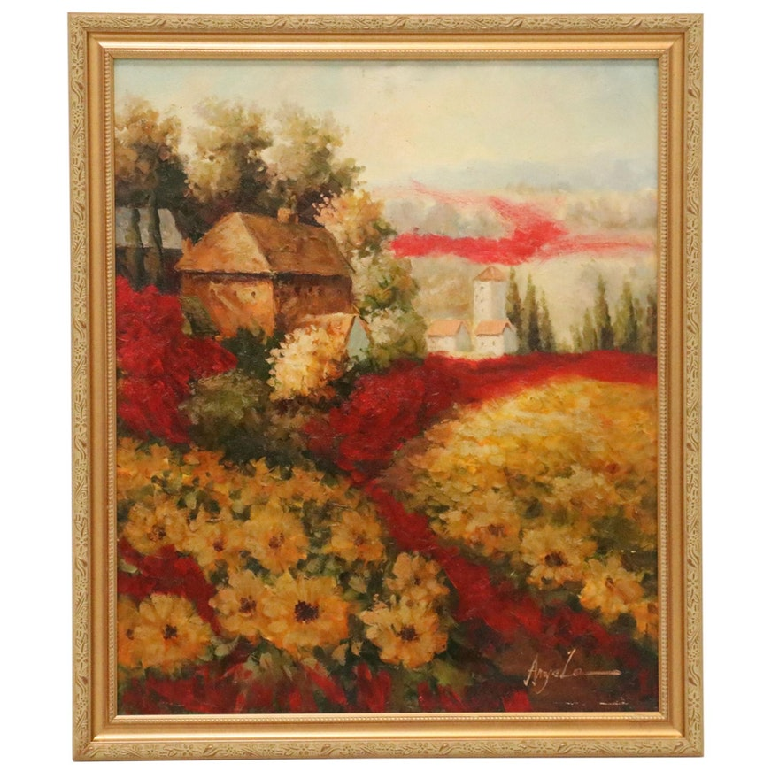 Oil Painting of Idyllic Landscape with Cottage, 21st Century