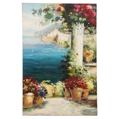 Mediterranean Coastal Scene Oil Painting, 21st Century