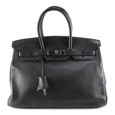 Hermès Birkin 35 Satchel in Noir Clemence Leather
