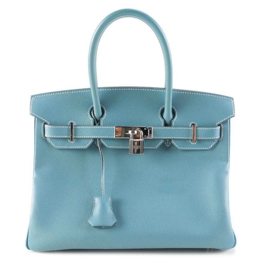 Hermès Birkin 30 Satchel in Bleu Jean Togo Leather