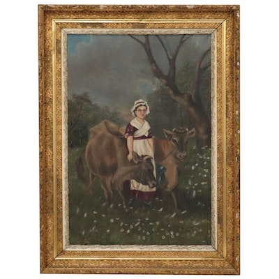 American Folk Painting of Woman and Cow, Late 19th Century