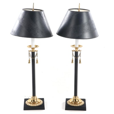 Pair of Brass-Mounted and Ebonized Candlestick Buffet Lamps
