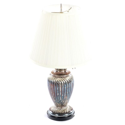 Williams & Bach Victorian Silver Plate Table Lamp, Late 19th Century and Adapted
