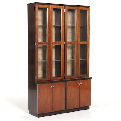 American of Martinsville Mid Century Modern Walnut China Cabinet