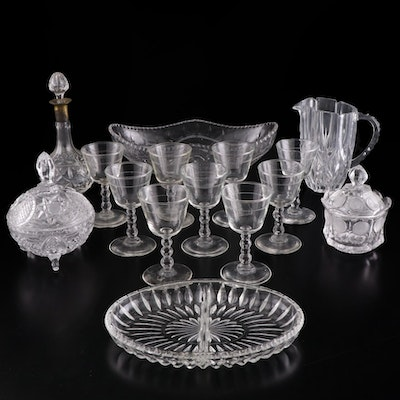 "Fostoria ""Coin"" Lidded Sugar Bowl with Other Glass Tableware"