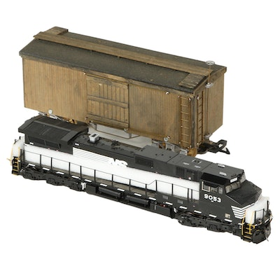 West German Model Train Box Car with Cargo Barrels in Packaging, Late 20th C.