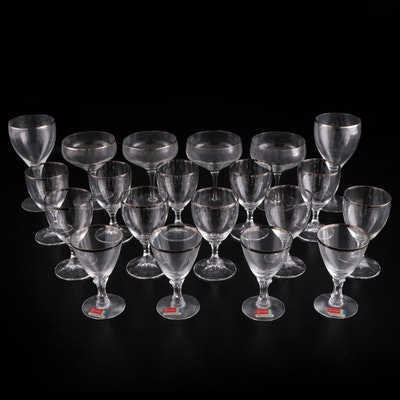 """Fostoria """"Wedding Ring"""" and Other Silver Rimmed Glass Stemware, Mid-20th C."""