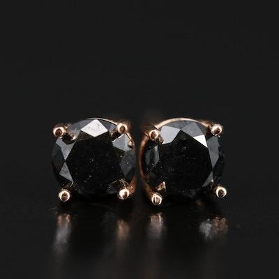 14K 0.80 CTW Black Diamond Stud Earrings