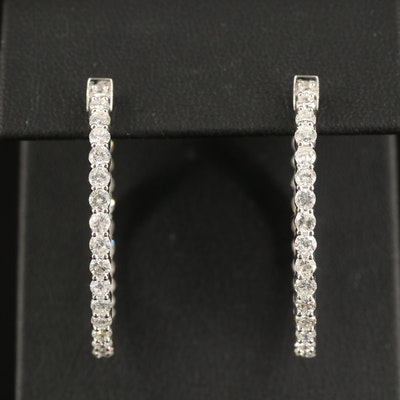 14K 3.48 CTW Diamond Inside-Out Hoop Earrings