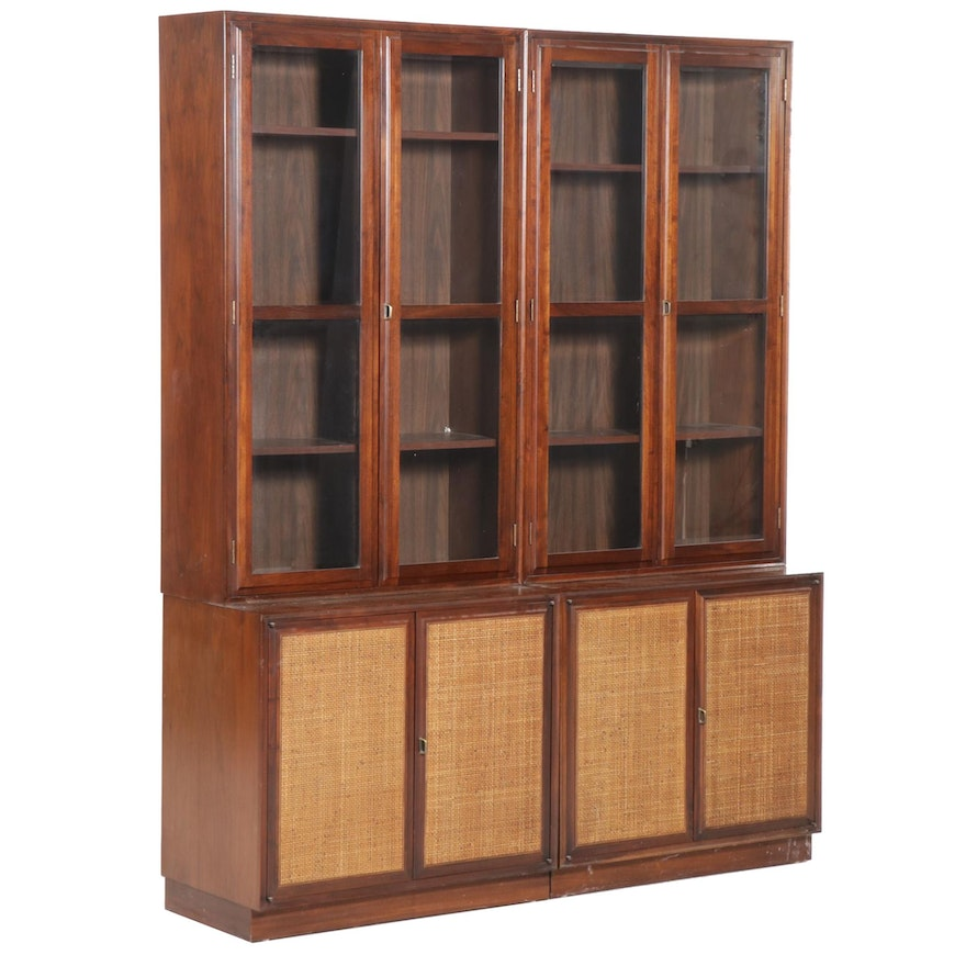 Pair of Mid Century Modern Walnut and Glass Front Display Cabinets, Mid-20th C
