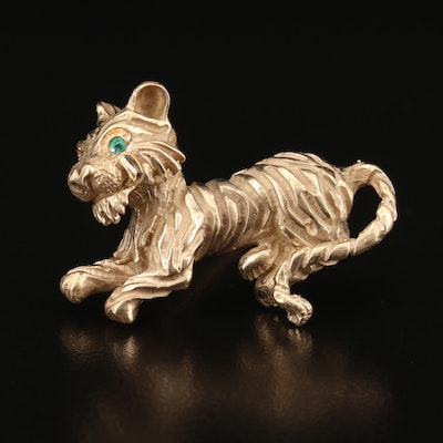 Vintage 14K Emerald Tiger Brooch