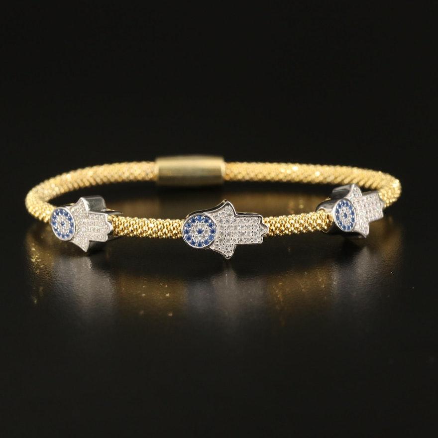 Sterling Cubic Zirconia Hamsa Hand Bracelet