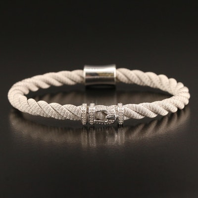Sterling Silver Diamond Buckle Bracelet