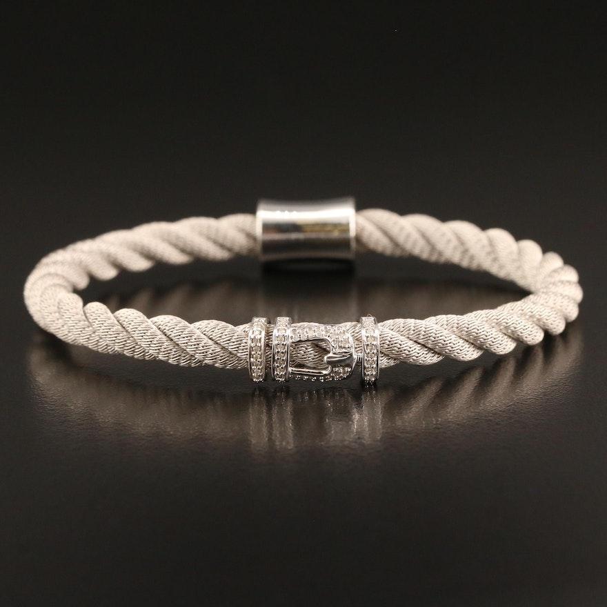 Sterling Silver Diamond Buckle Bracelet