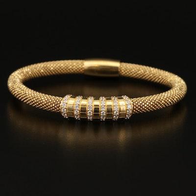 Sterling Cubic Zirconia Bead Style Link Bracelet