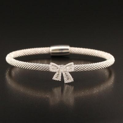 Sterling Silver Cubic Zirconia Bow Bracelet