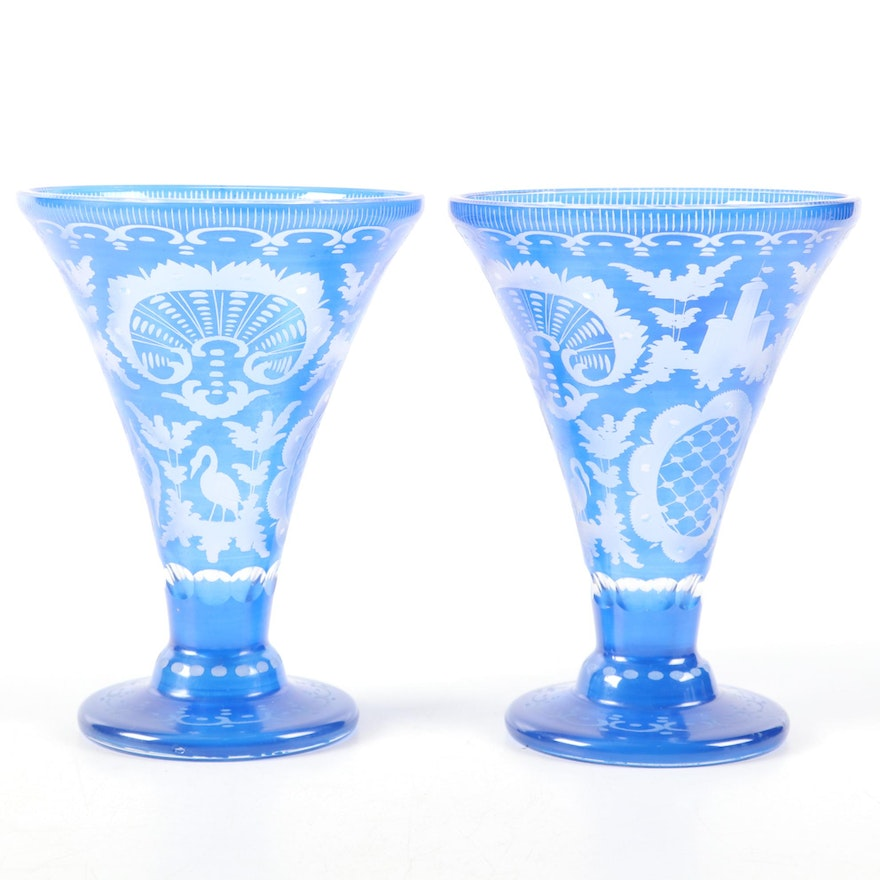 Bohemian Blue Etched to Clear Glass Vases, Early to Mid 20th Century