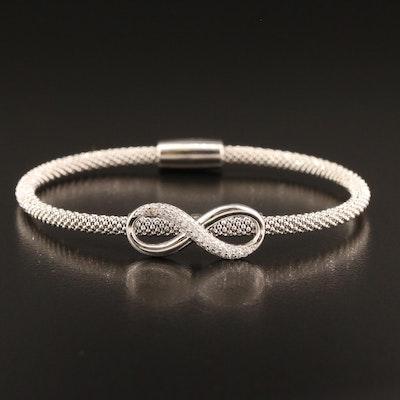 Sterling Silver Cubic Zirconia Infinity Symbol Bracelet