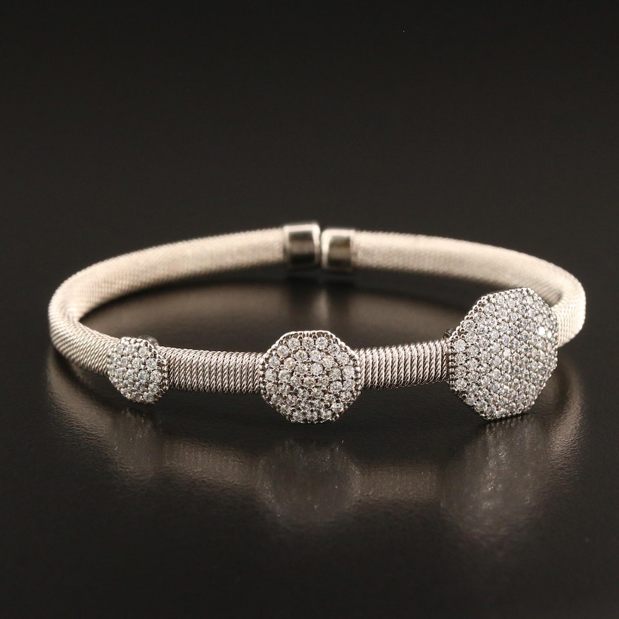 Sterling Bracelet with Graduated Cubic Zirconia Stations