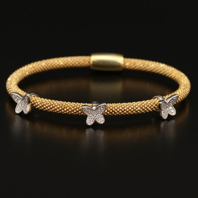 Sterling Cubic Zirconia Butterfly Station Bracelet