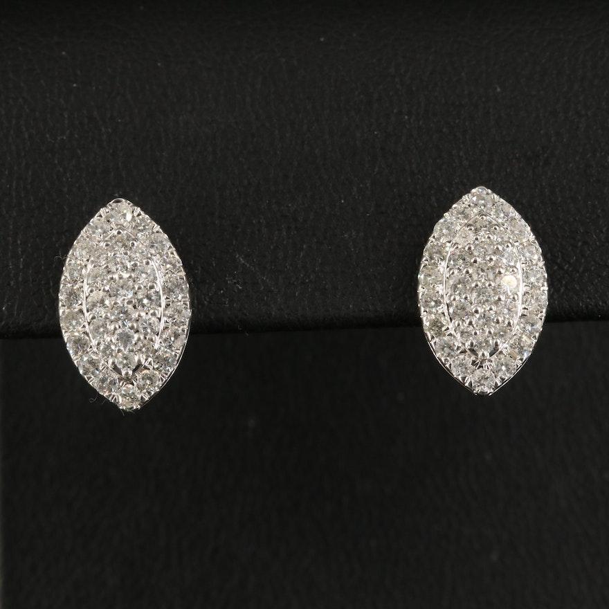 14K 1.17 CTW Diamond Navette Stud Earrings