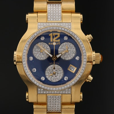 Renato Beauty 1.25 CTW Diamond Chronograph Stainless Steel Quartz Wristwatch